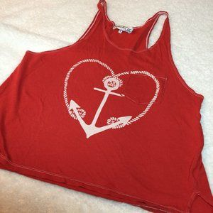 Wildfox Nautical Heart Anchor Rope Tank Tee Red S